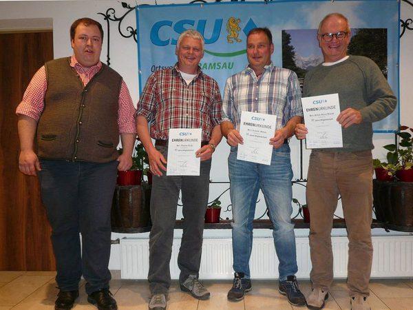 CSU-OV-Ramsau : Jahreshauptversammung-2019 - Ehrungen