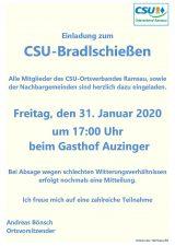 Einladung CSU-Bradlschießen am 31.01.20
